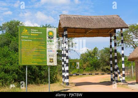 Lake Mburo Park Entrance to Nshaara Park, Uganda East Africa - Stock Image