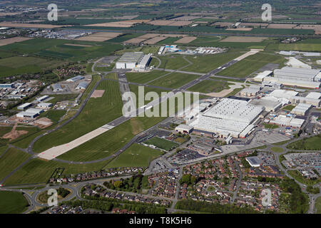 aerial view of Hawarden Airport, home of Airbus UK, near Chester, Cheshire, UK - Stock Image