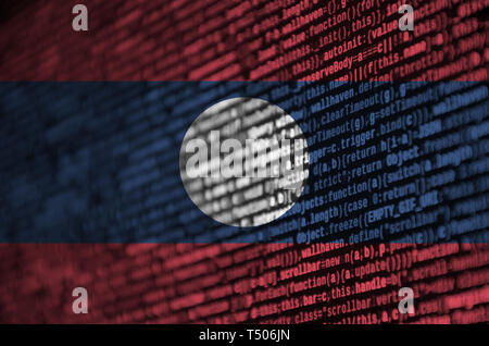 Laos flag  is depicted on the screen with the program code. The concept of modern technology and site development. - Stock Image