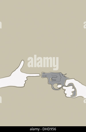 Hand making gun gesture pointing at a revolver - Stock Image