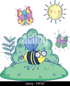 beautiful bee flying with butterflies in the landscape vector illustration design - Stock Image