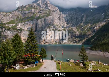 Oeschinensee (lake), Kandersteg, Bernese Oberland, Switzerland - Stock Image