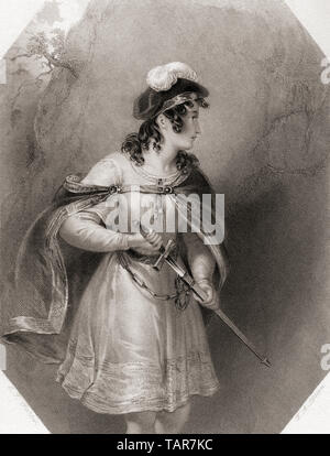 Imogen.  Principal female character from Shakespeare's play Cymbeline.  From Shakespeare Gallery, published c.1840. - Stock Image