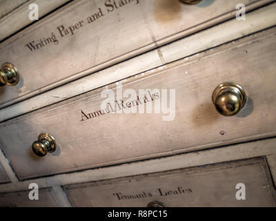 Annual Rentals sign on drawer - Stock Image