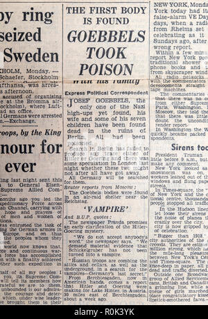 Daily Express front page newspaper article during the Second World War 2 WWII 'The First Body is Found GOEBBELS TOOK POISON' 8 May 1945 - Stock Image