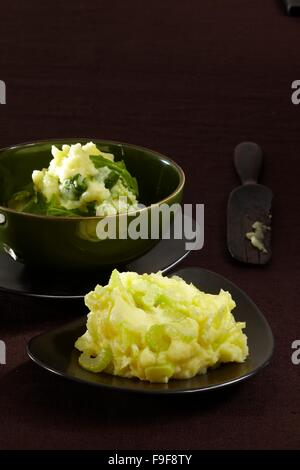 Mashed potatoes with celery and mashed potatoes with rucola - Stock Image