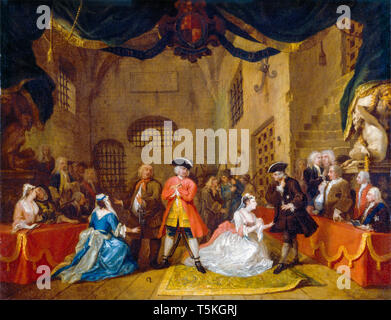 William Hogarth, The Beggar's Opera, painting, 1729 - Stock Image