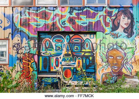Graffiti - street art in Grenoble (France) - Stock Image