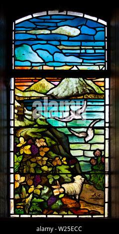 UK, Cumbria, Sedbergh, Marthwaite, St Gregory's church window, depicting farming and landscape scene - Stock Image