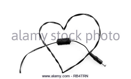 love heart shape made from black cable isolated white background - Stock Image