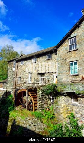 Waterwheel,Ambleside,Lake District,Cumbria,England,UK - Stock Image