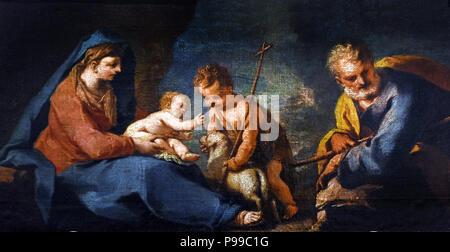 Sacra Famiglia e san Giovannino - Holy Family and Saint John by Nicolò Grassi -  Nicola Grassi (1682 – 1748),   Italian painter, active in a late-Baroque or Rococo style, Italy. - Stock Image
