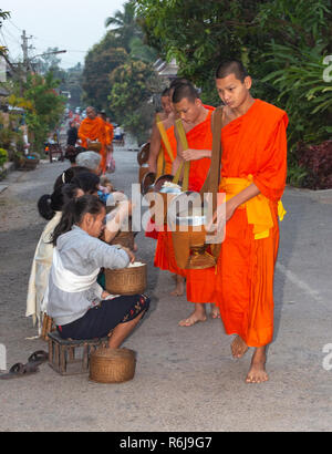 Monks in saffron robes take alms at dawn from local people in the town of Luang Prabang, Laos, South East Asia - Stock Image