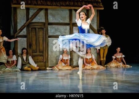 PRAGUE, CZECH REPUBLIC - APRIL 6: The Prague State Opera ballet ensemble presents the traditional version of Giselle - Stock Image