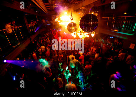 Wide crowd shot from the balcony at La Bomba at Pacha London 4th April 2010. - Stock Image