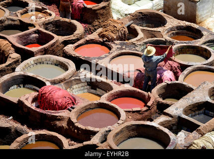 Chouwara Tanney, tanneries, the biggest in Fez one the most striking sights and smells in the Medina, Fez, Morocco, - Stock Image