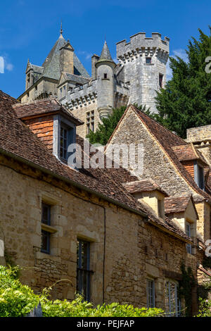 Chateau de Montfort - a castle in the French commune of Vitrac in the Dordogne region of France - Stock Image