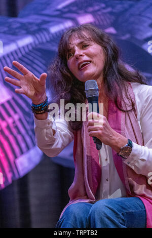 Bonn, Germany - June 8 2019: Mira Furlan (*1955, Croatian actress and singer - Babylon 5, LOST) talks about her experiences in the movie industry at FedCon 28 - Stock Image