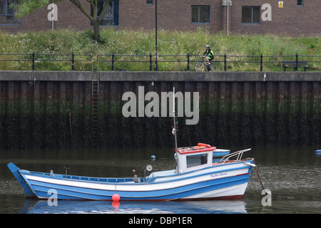 The fishing boat Sophie Lauren, Moored on the River Wear, near St Peters Riverside and the Fish Quay. - Stock Image
