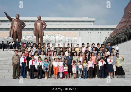 Rassemblement lors de la fête nationale à Pyongyang le 9 octobre 2012. Company Meeting during the obligation - Stock Image