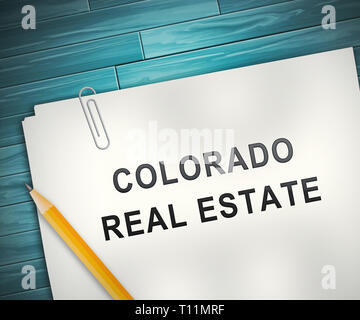 Colorado Property Contract Represents Real Estate Or Purchasing Investment. United States Realty Developments - 3d Illustration - Stock Image