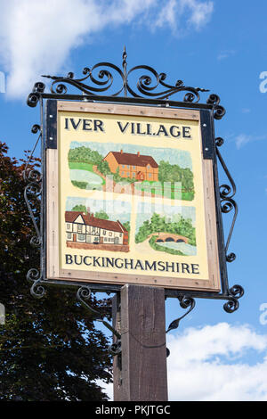 Iver village sign, High Street, Iver, Buckinghamshire, England, United Kingdom - Stock Image