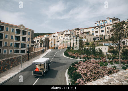 Beautiful view of a modern residential eco-friendly area or district with many small houses. On the road going electric car. - Stock Image