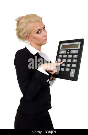 businesswoman with calculator on white background - Stock Image