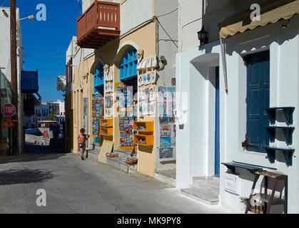 street scene in Mandraki, Nisyros island, Greece - Stock Image