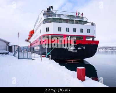 Hurtigruten Coastal Express cruise ship 'Richard With' docked at Finnsnes, Troms County, Norway.port - Stock Image