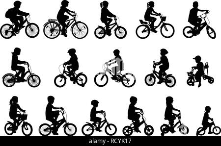 children riding bicycles silhouettes collection - vector - Stock Image