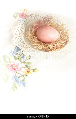 easter egg nest embroidery copy space - Stock Image