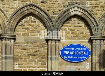 Sign - Jesus Welcomes All - on Methodist Church, Stokesley, Hambleton, North Yorkshire, England UK - Stock Image