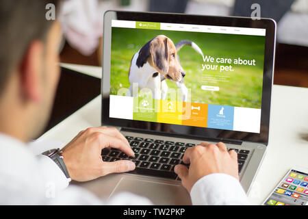 businessman with pet website at laptop screen, All screen graphics are made up. - Stock Image
