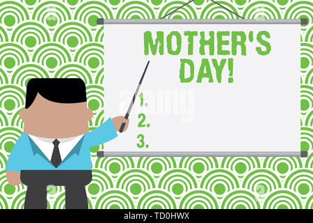 Text sign showing Mother S Day. Business photo text day of year where mothers are particularly honoured by children Businessman standing in front proj - Stock Image