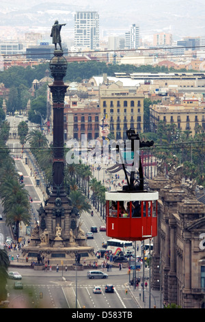 Port Vell Aerial Tramway and Columbus Monument, Barcelona, Catalonia, Spain - Stock Image