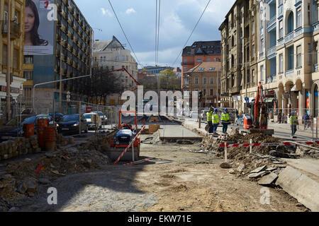 Construcion of new tramlines Budapest, Hungary - Stock Image