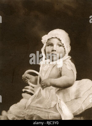 Princess Margaret (1930-2002) photographed when a baby. She was the first child in line of succession to the British throne to be born in Scotland for many years. Glamis village knew her as 'the Lassie's bairn' and later she beacme 'our' Princess. The Duke registered her brith at the village shop which combines the offices of registrar, postmaster and grocer! - Stock Image
