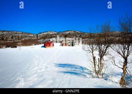 Winter at a Norwegian farm - Stock Image