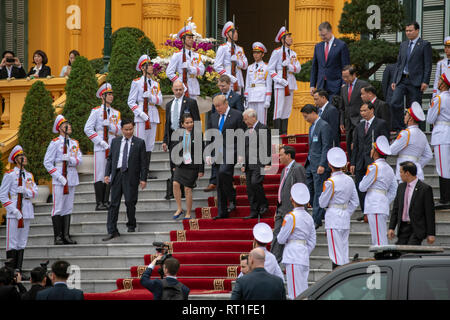 Hanoi, Vietnam. 27th Feb, 2019. U.S President Donald Trump is escorted by Vietnamese President Nguyen Phu Trong on departure from the Presidential Palace February 27, 2019 in Hanoi, Vietnam. Credit: Planetpix/Alamy Live News - Stock Image