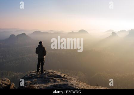 Sunrise, Kleiner Winterberg, Zschand, Fog, Saxon Switzerland, Uplands, Germany - Stock Image