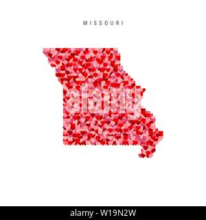 I Love Missouri. Red Hearts Pattern Vector Map of Missouri - Stock Image