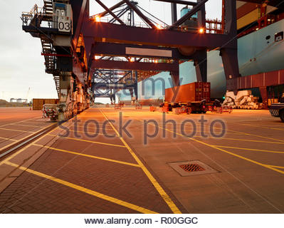 Dock during sunrise at Port of Felixstowe, England - Stock Image