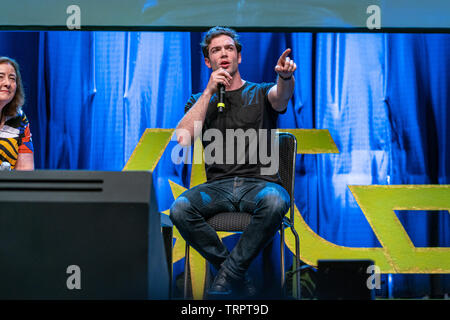 Bonn, Germany - June 8 2019: Lori Dungey and Ethan Peck at FedCon 28, a four day sci-fi convention. FedCon 28 took place Jun 7-10 2019. - Stock Image