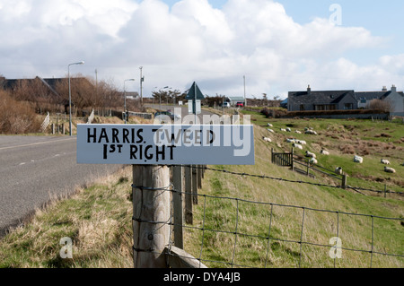 Harris Tweed Signpost - Stock Image