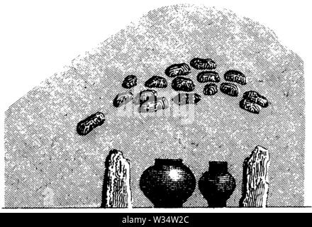 Hill grave with ash urns, ,  (cultural history book, 1875) - Stock Image