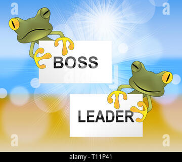 Boss Vs Leader Frogs Mean Leading A Team Better Than Managing. Encouraging Confident Strategy And Strong Concepts 3d Illustration - Stock Image