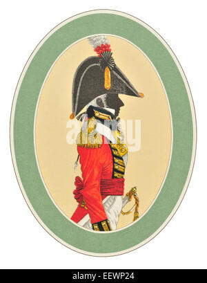 An Officer of the Royal marines Circa 1805 Marine Her Majesty's Royal Navy blue white red ceremonial uniform - Stock Image