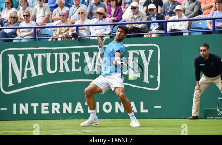 Eastbourne, UK. 24th June, 2019. Fernando Verdasco of Spain in action against John Millman of Australia during their match at the Nature Valley International tennis tournament held at Devonshire Park in Eastbourne . Credit: Simon Dack/Alamy Live News - Stock Image