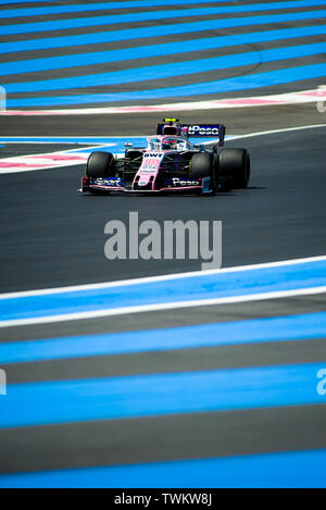 Marseille, France. 21st June 2019, Circuit Automobile Paul Ricard, Le Castellet, Marseille, France ; FIA Formula 1 Grand Prix of France, practise sessions; Lance Stroll of the Racing Point Team in action during free practice 1 Credit: Action Plus Sports Images/Alamy Live News - Stock Image